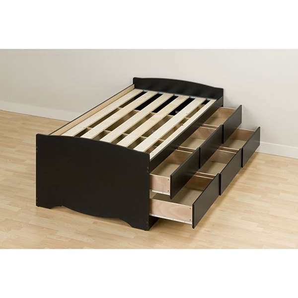 Black Twin 6 Drawer Captains Platform Storage Bed