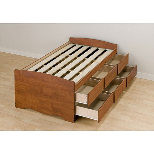 Cherry Tall Twin 6-drawer Captain's Platform Storage Bed