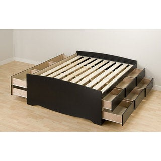 black tall full 12 drawer captains platform storage bed - Storage Bed Frames