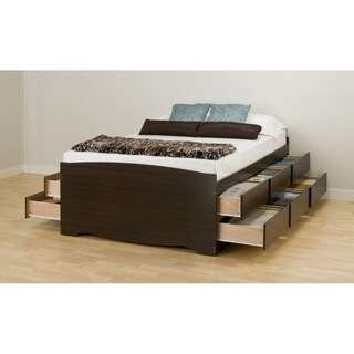 Espresso Tall Full 12-drawer Captain's Platform Storage Bed