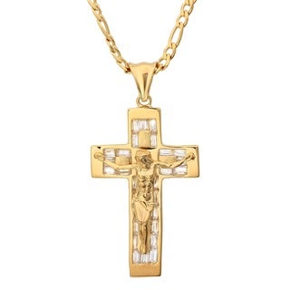 Yellow Gold Plated Silver CZ Crucifix Necklace (Size 22-30 Inch)