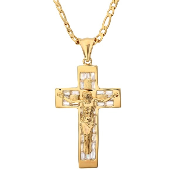 Sterling Essentials 14K Gold over Silver CZ Crucifix Necklace