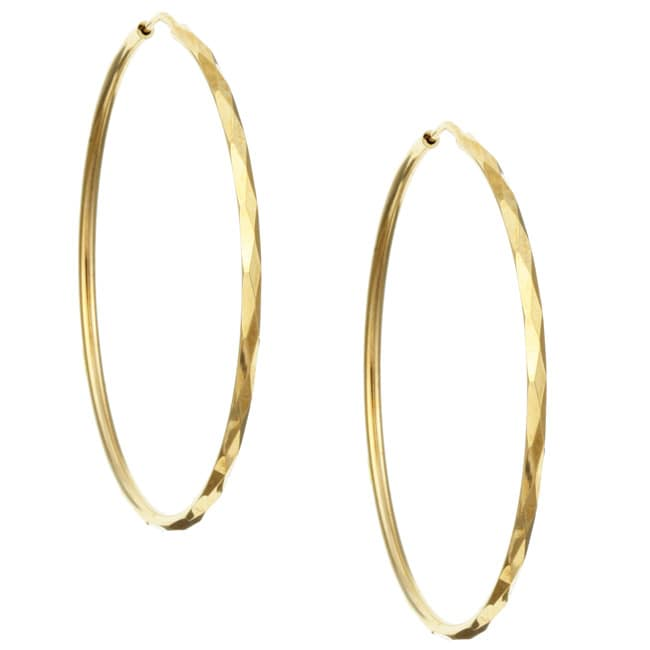 Sterling Essentials 14K Gold over Silver Faceted Hoop Earrings