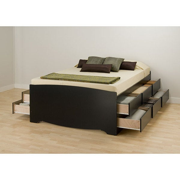 Black Tall Queen 12-drawer Captain's Platform Storage Bed