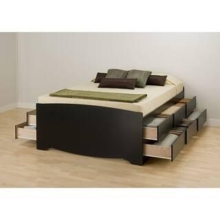 black 12 drawer captains queen size platform storage bed - Drawer Bed Frame