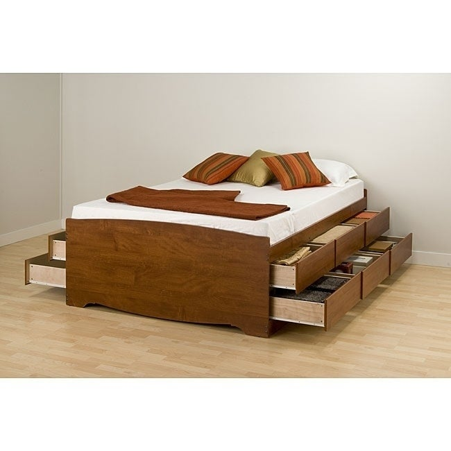 Details About Bed Frames For Queen Size Beds With Storage Tall Platform Captain Drawers Cherry