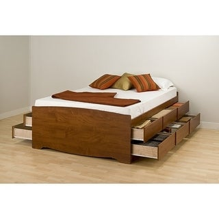 Cherry Tall Queen 12-drawer Captain's Platform Storage Bed