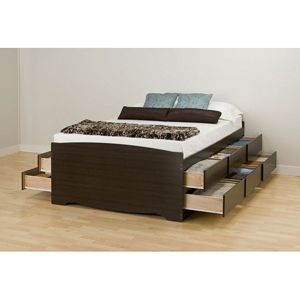 Espresso Tall Queen 12-drawer Captain's Platform Storage Bed