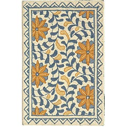 Safavieh Hand-hooked Majestic Ivory/ Blue Wool Rug (1'8 x 2'6)