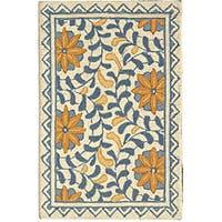 Safavieh Hand-hooked Majestic Ivory/ Blue Wool Rug - 1'8 x 2'6