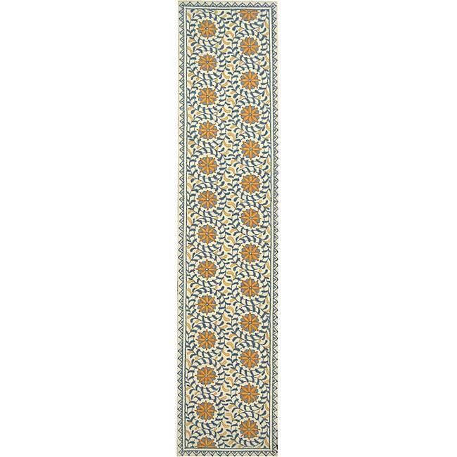 Safavieh Hand-hooked Majestic Ivory/ Blue Wool Runner (2'6 x 10')