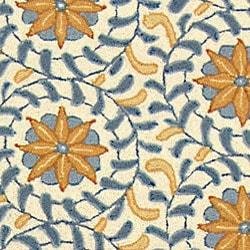 Safavieh Hand-hooked Majestic Ivory/ Blue Wool Runner (2'6 x 10') - Thumbnail 1