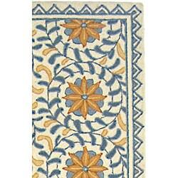 Safavieh Hand-hooked Majestic Ivory/ Blue Wool Runner (2'6 x 10') - Thumbnail 2