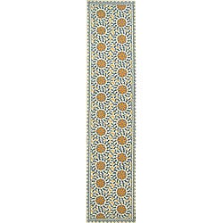 Safavieh Hand-hooked Majestic Ivory/ Blue Wool Runner (2'6 x 10')