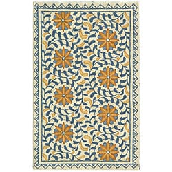 Safavieh Hand-hooked Majestic Ivory/ Blue Wool Runner (2'6 x 4')