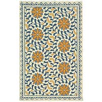 "Safavieh Hand-hooked Majestic Ivory/ Blue Wool Runner (2'6 x 4') - 2'6"" x 4'"
