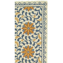 Safavieh Hand-hooked Majestic Ivory/ Blue Wool Runner (2'6 x 6') - Thumbnail 2