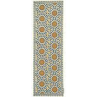 Safavieh Hand-hooked Majestic Ivory/ Blue Wool Runner (2'6 x 6')