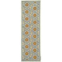 Safavieh Hand-hooked Majestic Ivory/ Blue Wool Runner (2'6 x 8') - 2'6 x 8'