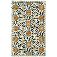 Safavieh Hand-hooked Majestic Ivory/ Blue Wool Rug - 2'9 x 4'9