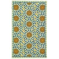 Safavieh Hand-hooked Majestic Ivory/ Blue Wool Rug - 2'9 x 4'9