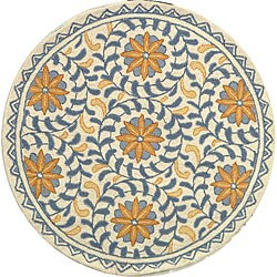 Safavieh Hand-hooked Majestic Ivory/ Blue Wool Rug (3' Round)