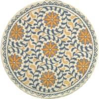 Safavieh Hand-hooked Majestic Ivory/ Blue Wool Rug - 3' x 3' round