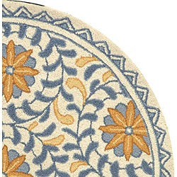 Safavieh Hand-hooked Majestic Ivory/ Blue Wool Rug (4' Round) - Thumbnail 2