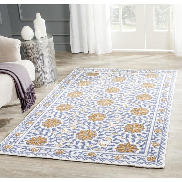 Shop Safavieh Hand Hooked Majestic Ivory Blue Wool Rug