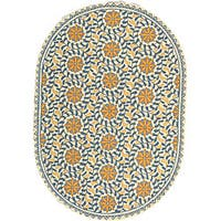 Safavieh Hand-hooked Majestic Ivory/ Blue Wool Rug (4'6 x 6'6 Oval) - 4'6 x 6'6