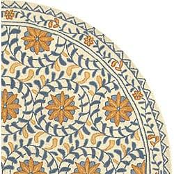 Safavieh Hand-hooked Majestic Ivory/ Blue Wool Rug (5'6 Round) - Thumbnail 1