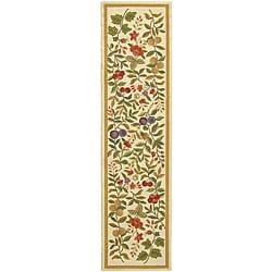 Safavieh Hand-hooked Garden Ivory Wool Runner Rug - 2'6 x 12' - Thumbnail 0