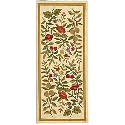 "Safavieh Hand-hooked Garden Ivory Wool Runner Rug - 2'6"" x 8'"