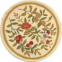 Safavieh Hand-hooked Garden Ivory Wool Area Rug - 3' x 3' round