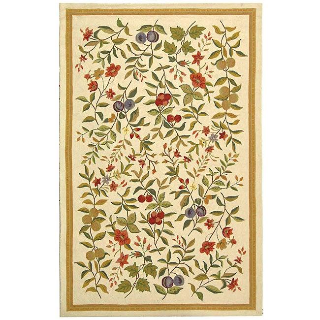 Safavieh Hand-hooked Garden Ivory Wool Rug (5'3 x 8'3)
