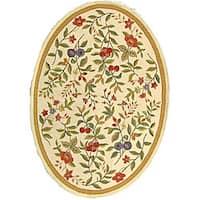 "Safavieh Hand-hooked Garden Ivory Wool Rug - 4'6"" x 6'6"" oval"