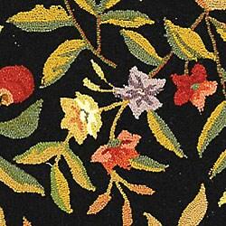 Safavieh Hand-hooked Garden Black Wool Runner (2'6 x 6') - Thumbnail 1