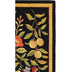 Safavieh Hand-hooked Garden Black Wool Runner (2'6 x 6') - Thumbnail 2