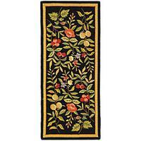 "Safavieh Hand-hooked Garden Black Wool Runner - 2'6"" x 6'"