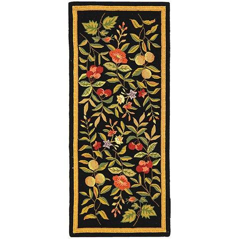 "Safavieh Hand-hooked Garden Black Wool Runner - 2'6"" x 8'"
