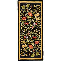Safavieh Hand-hooked Garden Black Wool Runner (2'6 x 8')