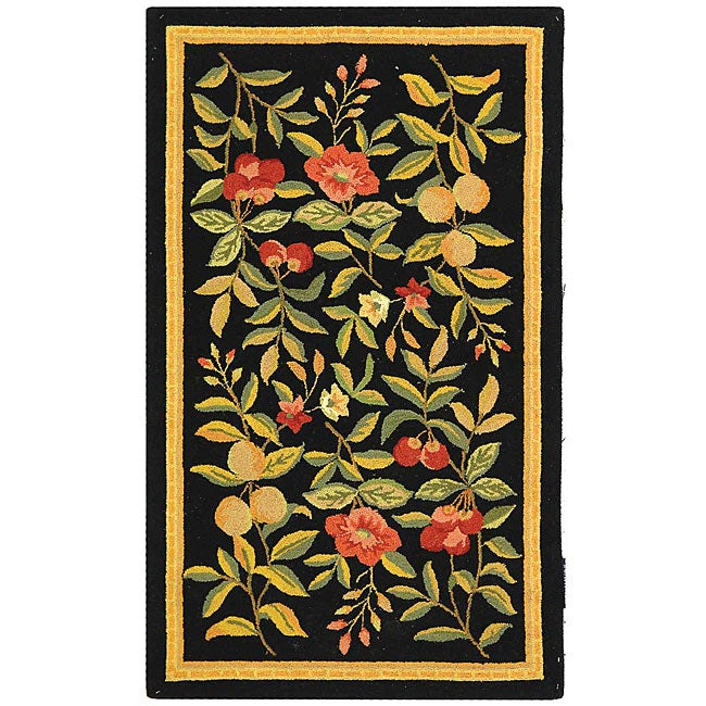 Safavieh Country Hand-Hooked Garden Black Wool Rug (2'9 x 4'9)