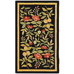 Safavieh Country Hand-Hooked Garden Black Wool Rug (2'9 x 4'9)