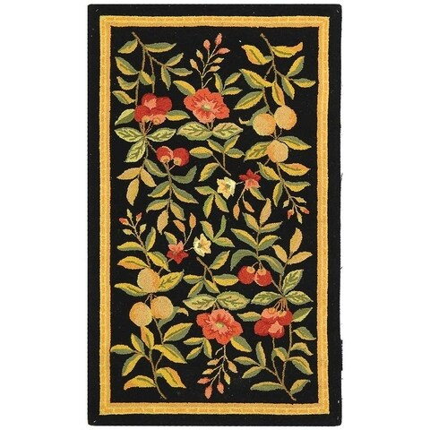 "Safavieh Country Hand-Hooked Garden Black Wool Rug - 2'9"" x 4'9"""