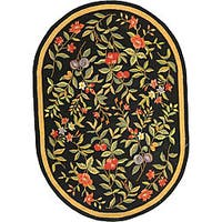 "Safavieh Hand-hooked Garden Black Wool Rug - 4'6"" x 6'6"" oval"
