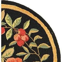 Safavieh Hand-hooked Garden Black Wool Rug (5'6 Round)