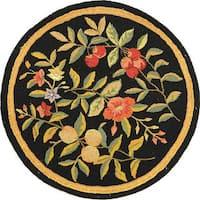 """Safavieh Hand-hooked Garden Black Wool Rug - 5'6"""" x 5'6"""" Round"""