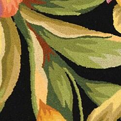 Safavieh Hand-hooked Paradise Black Wool Runner (2'6 x 4') - Thumbnail 1