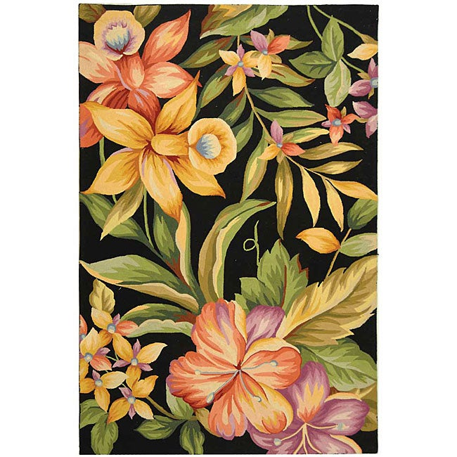 Safavieh Hand-hooked Paradise Black Wool Rug (6' x 9')