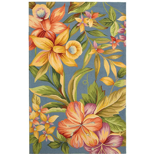 Safavieh Hand-hooked Paradise Blue Wool Rug (5'3 x 8'3)